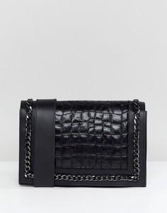 Стеганая кожаная сумка через плечо с цепочкой ASOS DESIGN - Черный