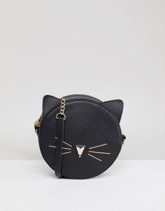 Круглая сумка через плечо с кошачьей отделкой ASOS DESIGN - Черный