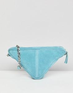 Замшевая треугольная сумка через плечо ASOS - Синий