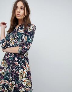 Платье-рубашка макси с принтом QED London - Темно-синий