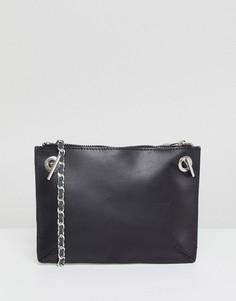 Кожаная сумка через плечо с ремешком-цепочкой ASOS DESIGN - Черный