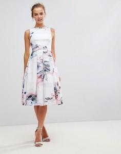 Плиссированное платье миди с цветочным принтом Little Mistress - Мульти