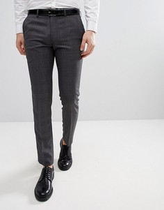 Строгие брюки скинни в клетку Moss London - Серый
