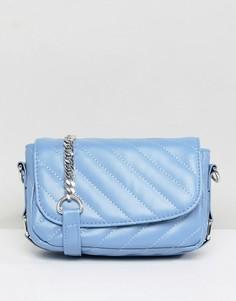Стеганая сумка через плечо с цепочкой Pieces - Синий