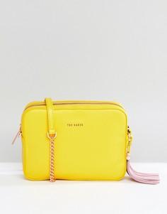 Кожаная сумка с кисточкой Ted Baker - Желтый