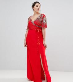 Платье макси с запахом и отделкой Virgos Lounge Plus Julisa - Красный