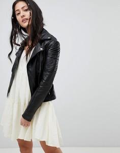 Кожаная байкерская куртка Barneys Originals Dominque cket - Черный
