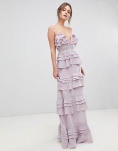 Премиум-платье макси на бретельках с ярусными оборками и кружевной вставкой True Decadence - Фиолетовый