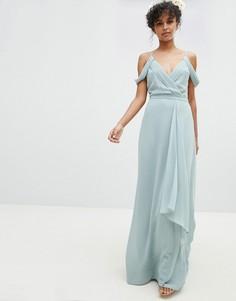 Платье макси с открытыми плечами и запахом TFNC - Зеленый