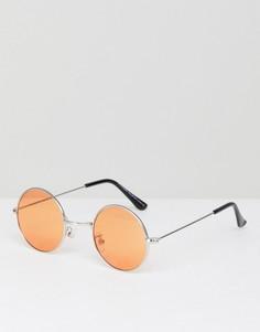 Круглые солнцезащитные очки с оранжевыми стеклами 7x - Золотой