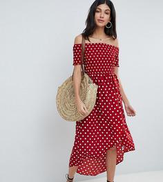 Платье миди в горошек с открытыми плечами Parisian Tall - Красный