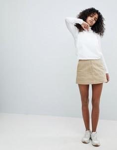Мини-юбка с молнией и контрастной строчкой Weekday - Бежевый