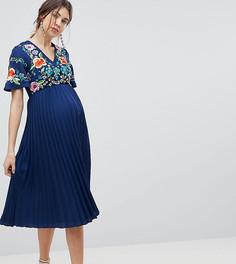 Платье миди с вышивкой и плиссировкой ASOS DESIGN Maternity - Темно-синий