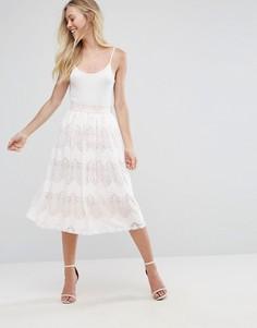 Плиссированная кружевная юбка миди Oh My Love - Белый