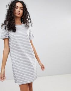 Трикотажное платье-футболка в полоску Only - Серый