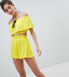 Пляжные шорты с завышенной талией Monki - Желтый