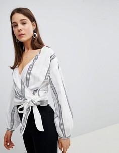 Блузка в полоску с завязкой New Look - Белый