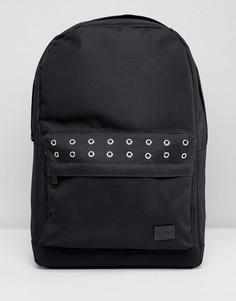 Черный рюкзак с карманом и люверсами Spiral - Черный