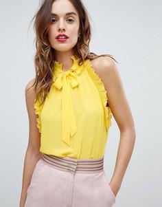 Топ с оборками и завязкой Sisley - Желтый