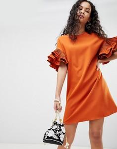 Платье А-силуэта с оборками на рукавах Parisian - Красный