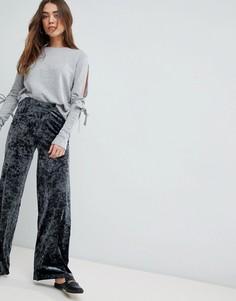 Широкие брюки из бархата с мятым эффектом JDY Mona - Темно-синий
