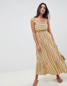 Платье макси в полоску с баской ASOS DESIGN - Мульти