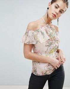 Топ с цветочным принтом, оборкой и открытыми плечами Morgan - Мульти
