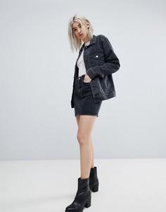 Джинсовая мини-юбка Weekday - Черный