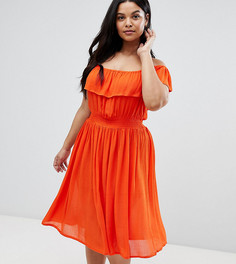 Платье миди с широким вырезом и оборками Brave Soul Plus - Красный