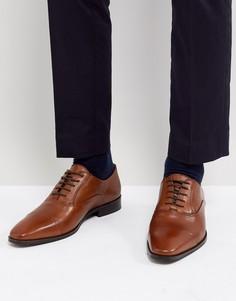 Светло-коричневые кожаные дерби со вставкой на носке Dune - Рыжий