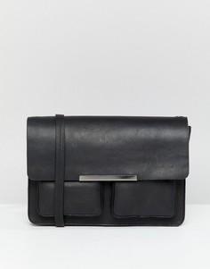 Кожаная структурированная сумка через плечо ASOS DESIGN - Черный