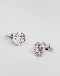 Серебристые запонки с монеткой ASOS DESIGN - Серебряный