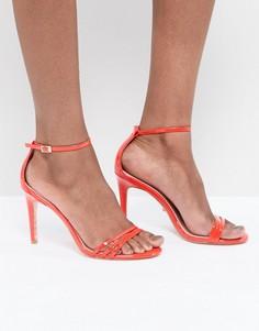 Ярко-оранжевые босоножки на каблуке с ремешками Dune - Оранжевый