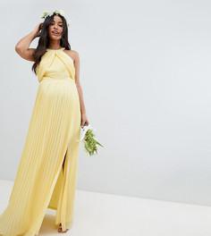 Плиссированное платье макси TFNC Maternity - Желтый