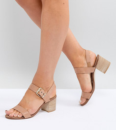 Кожаные босоножки для широкой стопы на наборном каблуке Dune Jany - Рыжий
