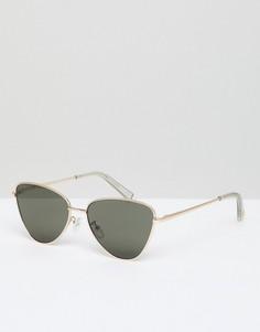 Солнцезащитные очки кошачий глаз в золотистой оправе Le Specs Echo - Золотой