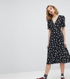 Платье миди на пуговицах с запахом и цветочным принтом Reclaimed Vintage Inspired - Черный