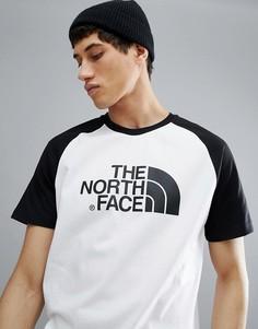 Белая бейсбольная футболка с черными рукавами реглан The North Face - Белый