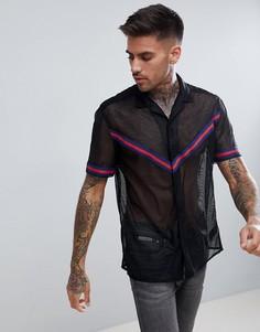 Сетчатая рубашка классического кроя с шевронной отделкой ASOS DESIGN - Черный