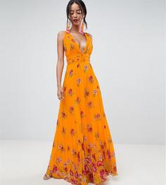 Плиссированное платье макси с цветочным принтом ASOS DESIGN Tall - Оранжевый