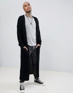 Черный фактурный кардиган длинного кроя ASOS DESIGN - Черный