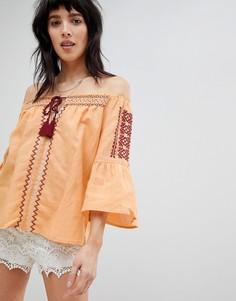 Блузка с открытыми плечами и вышивкой Hazel - Желтый