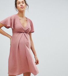 Льняное платье с узелком спереди New Look Maternity - Розовый