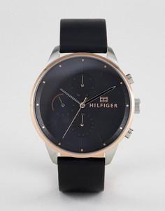 Часы с черным кожаным ремешком и хронографом Tommy Hilfiger 1791488 - 44 мм - Черный