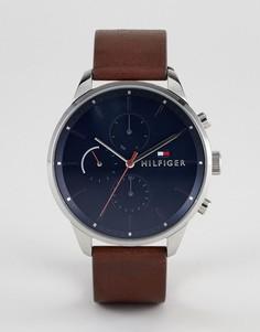 Часы с коричневым кожаным ремешком и хронографом Tommy Hilfiger 1791487 - 44 мм - Коричневый