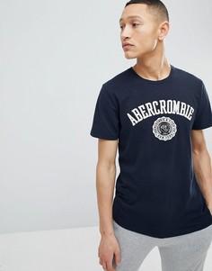 Темно-синяя футболка с логотипом Abercrombie & Fitch - Темно-синий