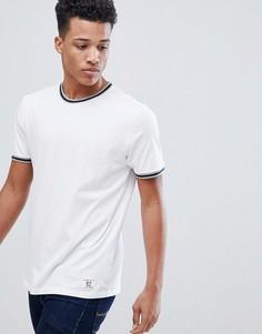 Белая университетская футболка с окантовкой Abercrombie & Fitch - Белый