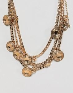 Массивное ожерелье в несколько рядов с цепочками и монетами ASOS DESIGN - Золотой