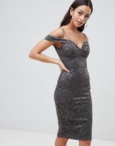Кружевное платье-футляр AX Paris - Серый