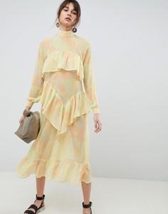 Шифоновое платье макси с принтом ASOS WHITE - Желтый
